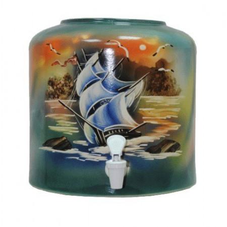 Диспенсер для воды «Парус зеленый» керамический