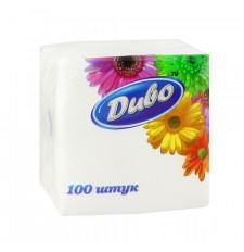 Салфетки бумажные белые Диво 240*240мм, 100 шт