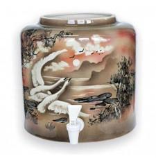 Диспенсер для воды «Птицы» коричневый керамический