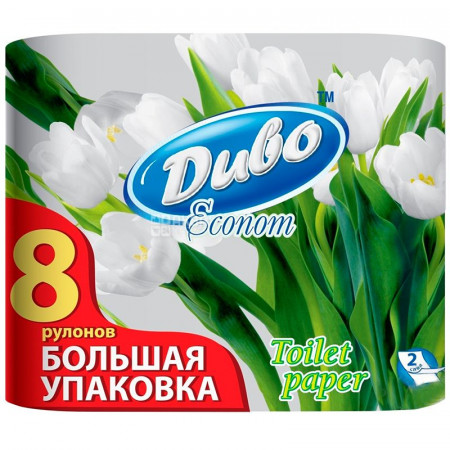 Туалетная бумага Диво Econom 8 рул. Обухов 2-х слойная целлюлоза белая